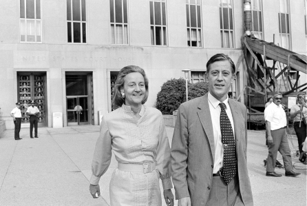 FILE - In this June 21, 1971 file photo, Washington Post Executive Director Ben Bradlee and Post Publisher Katharine Graham leave U.S. District Court in Washington. Bradlee died Tuesday, Oct. 21, 2014, according to the Washington Post. (AP Photo, File)